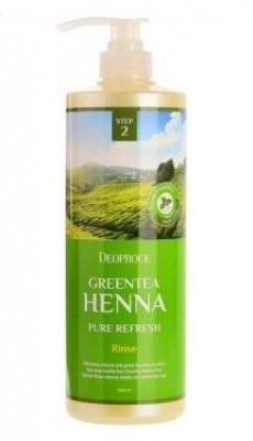 Бальзам с хной и зеленым чаем DEOPROCE Rinse greentea henna pure refresh 1000мл: фото