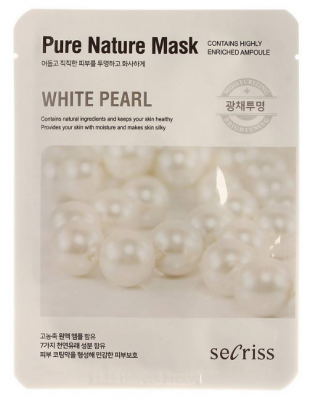 Маска тканевая с жемчугом Anskin Secriss Pure Nature Mask Pack- White pearl 25мл: фото