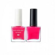 Набор лак для ногтей + тинт для губ и румяна THE SAEM Kiss&Blush Lacquer & Kissholic Nails PK03 9,5г+9.5г: фото