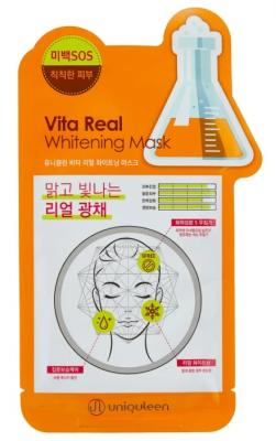 Маска для лица тканевая витаминная Mijin Uniquleen Vita Real Whitening Mask 26г: фото