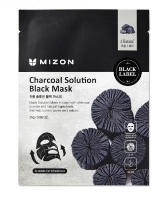 Тканевая маска c древесным углем Mizon Charcoal Solution Black Mask 25г: фото