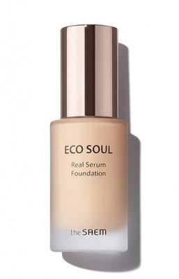 Тональный крем-сыворотка The Saem Eco Soul Real Serum Foundation SPF50+ PA++++ 21 Light Beige 35 мл: фото