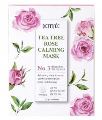 Маска тканевая с экстрактом чайного дерева и розы Petitfee Tea Tree Rose Calming Mask 25г: фото
