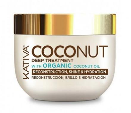 Восстанавливающая маска с органическим кокосовым маслом для поврежденных волос Kativa Coconut 250мл: фото