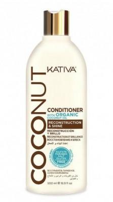 Восстанавливающий кондиционер с органическим кокосовым маслом для поврежденных волос Kativa Coconut 500мл: фото
