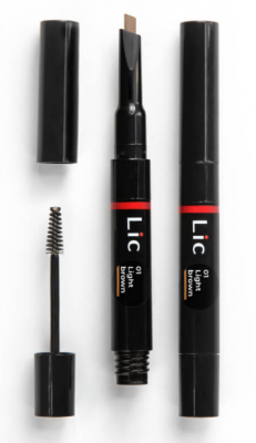 Карандаш механический для бровей 2 в 1 с гелем для моделирования Lic Mechanical eyebrow pen 01 Light Brown: фото